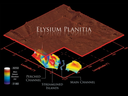 Ancient martian water channels revealed in 3D by the SHARAD instrument aboard the Mars Reconnaissance Orbiter. [Image Credit: NASA/JPL-Caltech/Sapienza University of Rome/Smithsonian Institution/USGS]